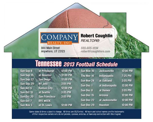"Tennessee Pro Football Schedule House Shape Magnet (5""x3 7/8"")"