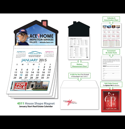 Magna-Cal House Shape Magnet Real Estate Calendar - January 2014 Start