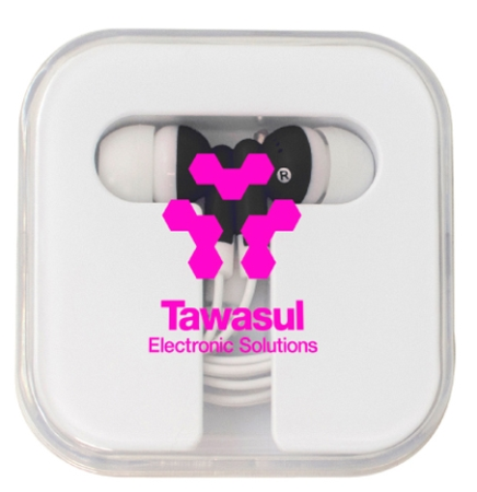 Colorful Ear Buds with Clear Square Case