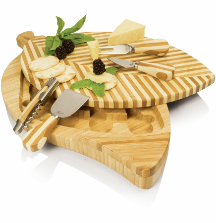 Leaf Swivel-Style Cheese/Cutting Board with Wine & Cheese Tools