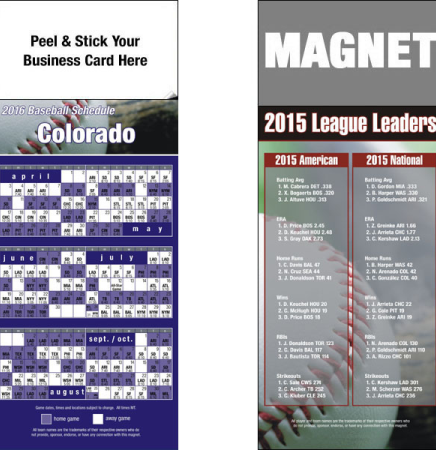 "Peel and Stick Pro Baseball Schedule Magnet (3 1/2"" x 8 1/2"")"