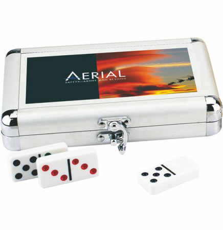 Double 9 Silver Metal Valise Dominoes Game