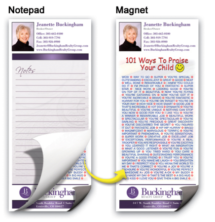 "3 1/2""x8"" Full-Color Magnetic Notepads - 101 Ways to Praise Your Child"
