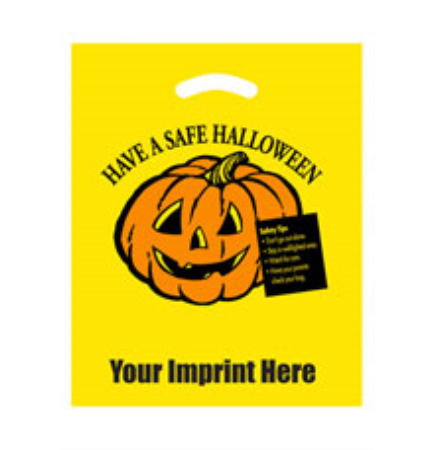 "Have a Safe Halloween Yellow Die Cut Bag • 12"" x 15"""