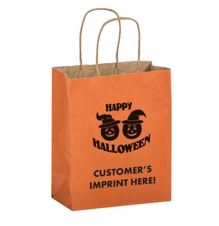 "Pumpkins Matte Orange Shopper •  8"" x 4 3/4"" x 10 1/2"""