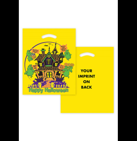 "Haunted House Yellow Die Cut Bag •  12"" x 15"""