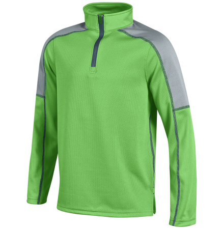 Under Armour Youth Proven Colorblock 1/4 Zip Mock Pullover - Poison Green