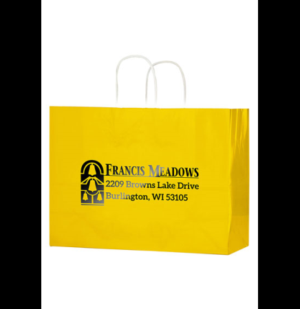 "Color Gloss Paper Shopper Tote Bag (16""x6""x13"") - Foil Stamp"