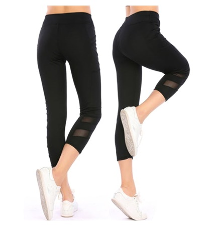 Black Sport Capri Yoga Pants with Mesh Inset