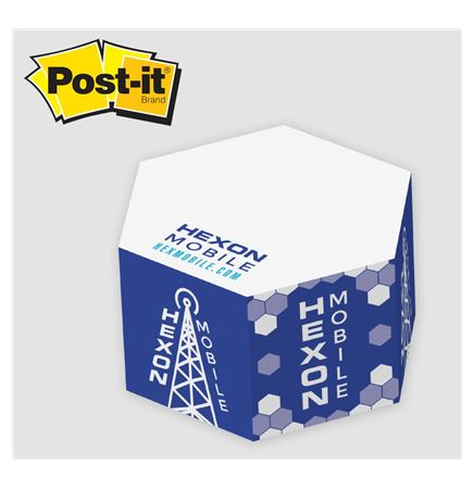 "Post-it® Notes Custom Printed Half Hexagon Cube Note Pad (3 3/4""x3 3/4""x1 3/4"")"