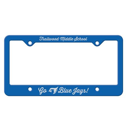 Blue Auto License Frame w/ 4 Holes & Large Bottom Straight Panel