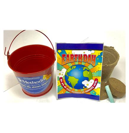 Earth Day Seed Packet in Red Metal Bucket Kit Garden Kit