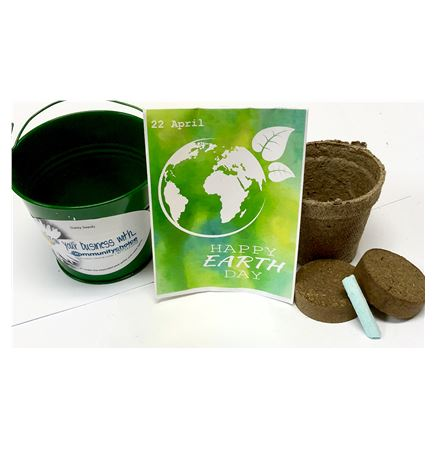 Earth Day Seed Packet in Green Metal Bucket Garden Kit