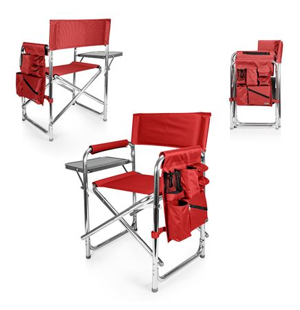Sports Chair - Folding Chair w/Fold Out Table, Side Pockets, Drink Holders