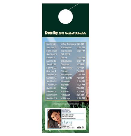 "Green Bay Pro Football Schedule Door Hanger (4""x11"")"