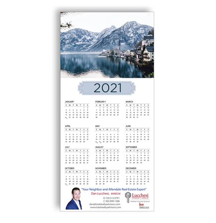 Z-Fold Personalized Greeting Calendar - Scenic City by the Lake